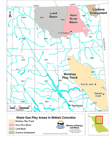 Shale gas reserves in northeastern BC